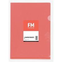 FM Pocket L Shape Clear A4 Red 12 Pack Hangsell