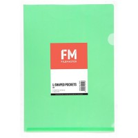 FM Pocket L Shape Clear A4 Green 12 Pack Hangsell