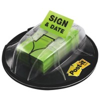 Post-it Flags Dispenser Desk Grip Sign & Date Green 200 Flags