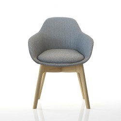 Ava Chair with Wood Leg Base
