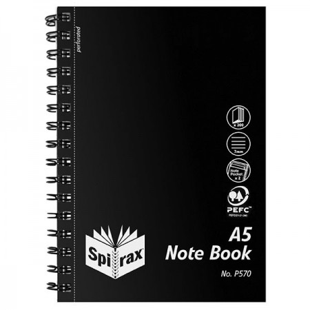SPIRAX P570 PP NOTEBOOK SIDE OPENING A5 200 PAGE BLACK