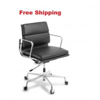 Eames Replica Soft Pad Leather Mid Back Chair