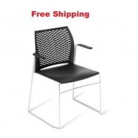 Net Chrome frame Chair with Armrests