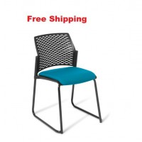 Punch Sled Black Frame Chair With Seat Upholstered