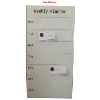 Magnetic Glassboards Weekly Planner White
