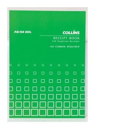 Collins A5/50 3DL Receipt Book (3 to view) 50lf NCR - Precision Stationery,  Office Furniture & Technology Supplies