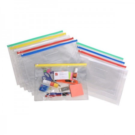 A5 Zip Pocket Clear Case with Card Pocket