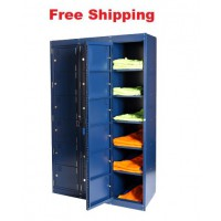 8 Tier Bank of 3 Laundry Locker