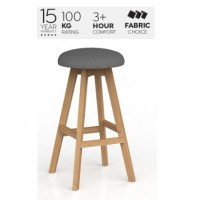 Luna Button Barstool Motion Felt Fabric