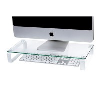 Esselte Glass White Legs Monitor Stand